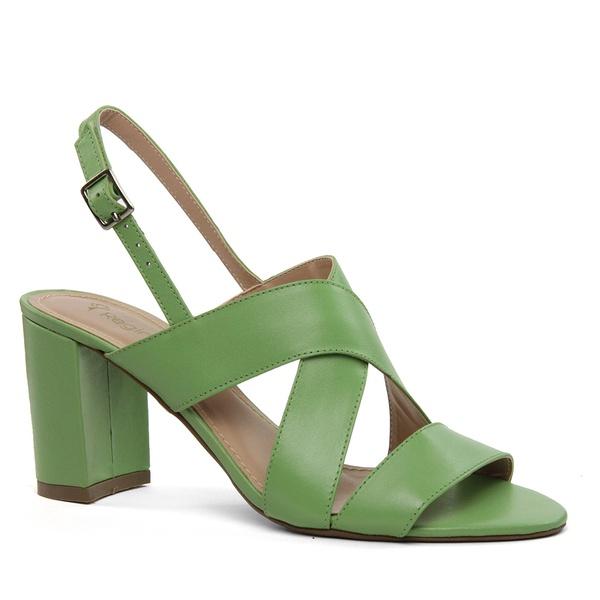 Sandália Cruzada Couro Verde