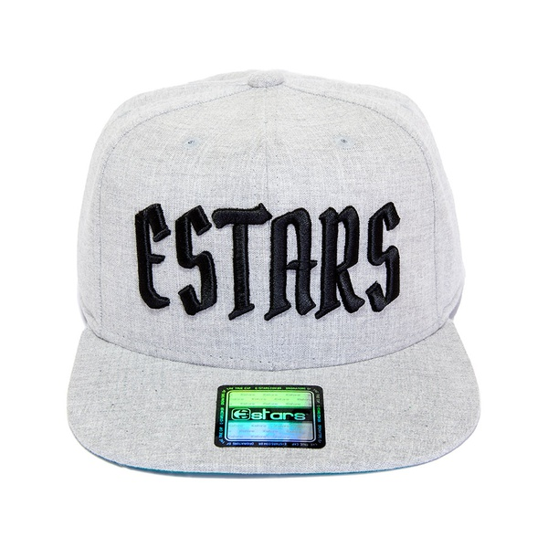 Boné E-Stars Snapback Aba Reta Cinza Claro