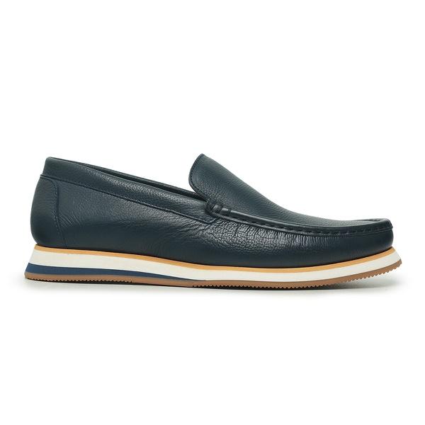 Sapato Casual Tokyo Masculino Couro Azul Escuro