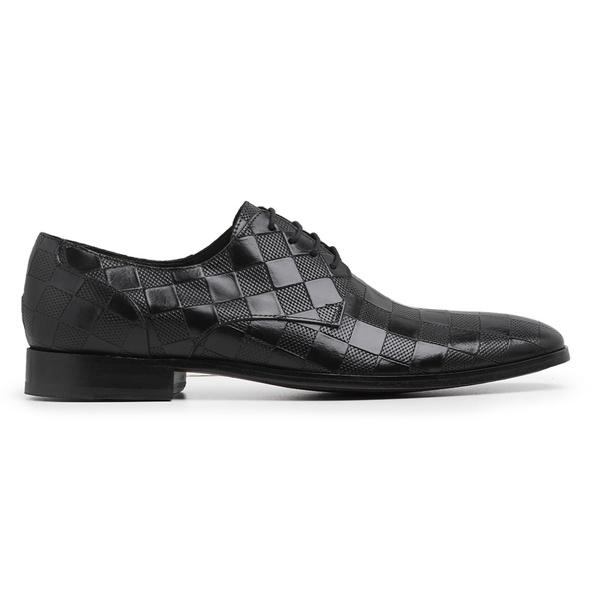 Sapato Social Masculino Couro Textura Preto Riccally