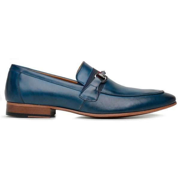 Sapato Social Fivela Masculino Azul