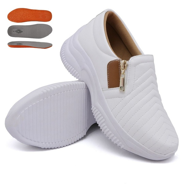 Tênis Casual Chuncky Zíper Costura Branco Caramelo Sola Tratorada DKShoes