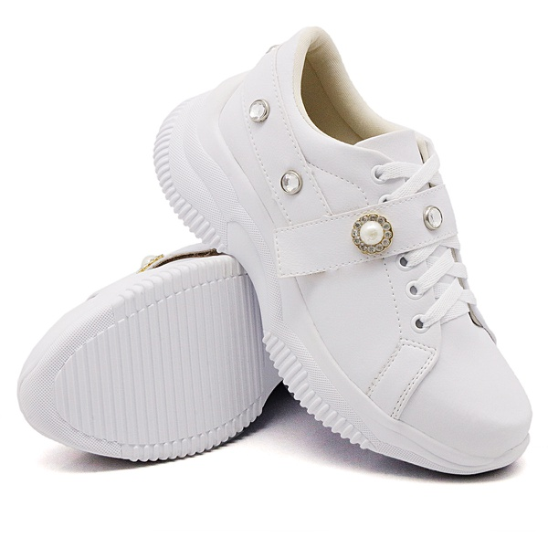 Tênis Casual Chuncky Pérola Branco Sola Tratorada DKShoes