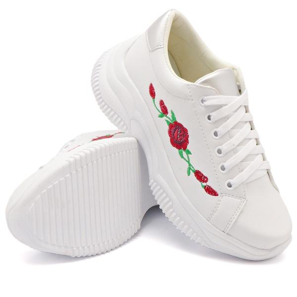 Tênis Casual Chuncky Flor Branco Sola Tratorada DKShoes