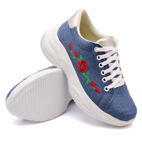 Tênis Casual Chuncky Flor Jeans Claro Sola Tratorada DKShoes