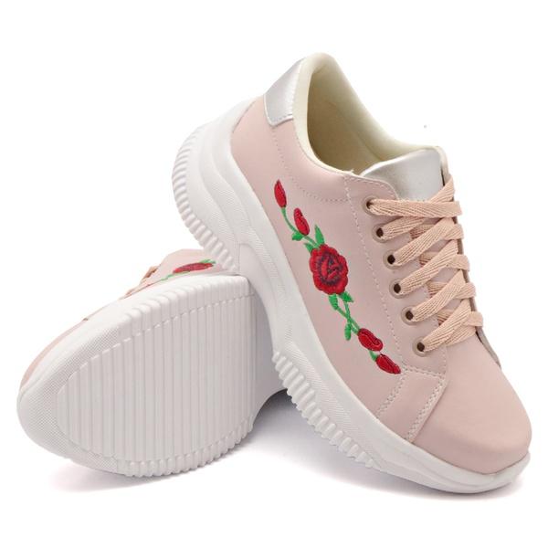 Tênis Casual Chuncky Flor Rosê Sola Tratorada DKShoes