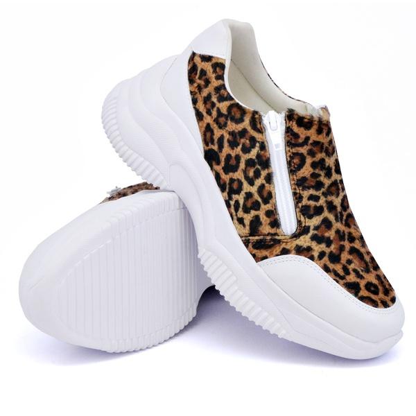 Tênis Casual Chuncky Zíper Onça Branco Sola Tratorada DKShoes