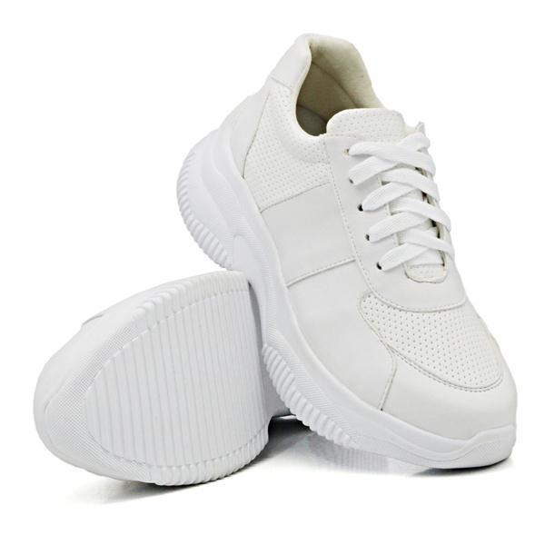 Tênis Casual Chuncky Perfurado Branco Sola Tratorada DKShoes