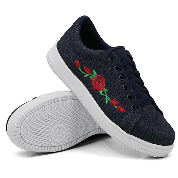 Tênis Casual Jeans Flor DKShoes