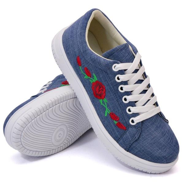 Tênis Casual Jeans Claro Flor DKShoes