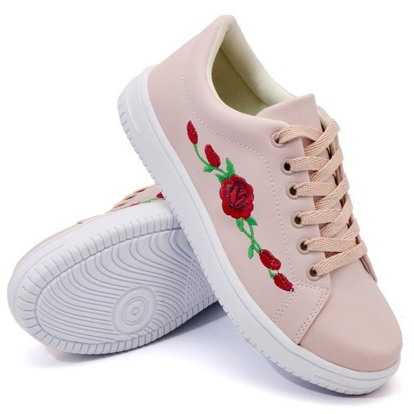 Tênis Casual Rosê Flor DKShoes