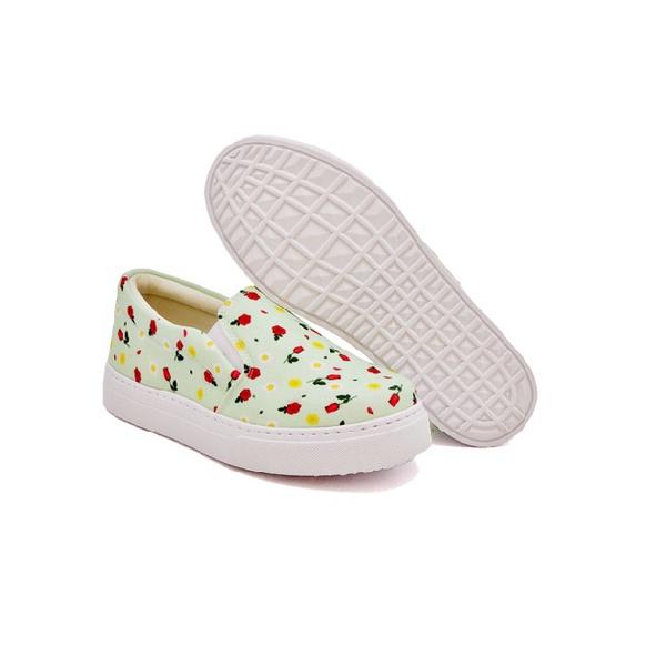 Slip On Estampado Infantil Verde Abacate DKShoes
