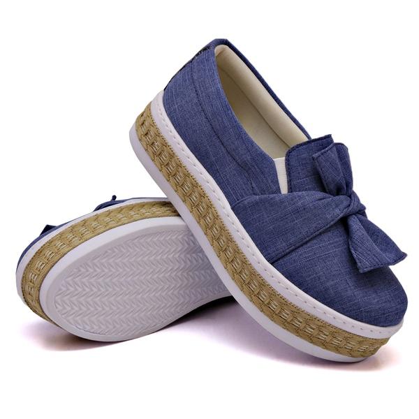 Slip On Laço Sola Alta Jeans Claro Corda DKShoes