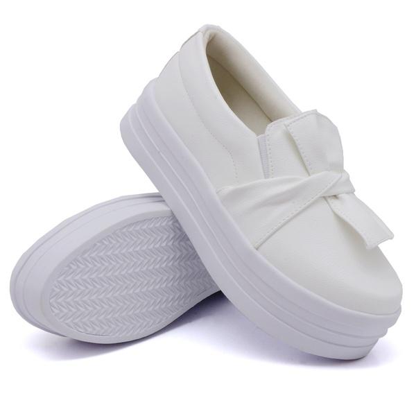 Slip On Laço Sola Alta Branco DKShoes