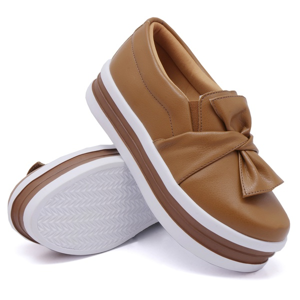 Slip On Laço Sola Alta Caramelo DKShoes