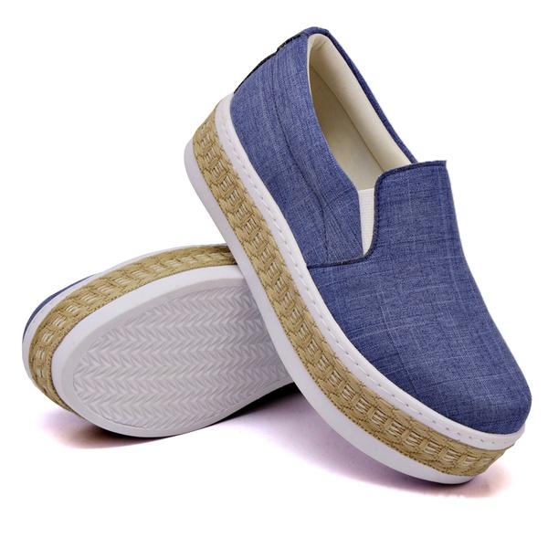 Slip On Liso Sola Alta Jeans Claro Corda DKShoes