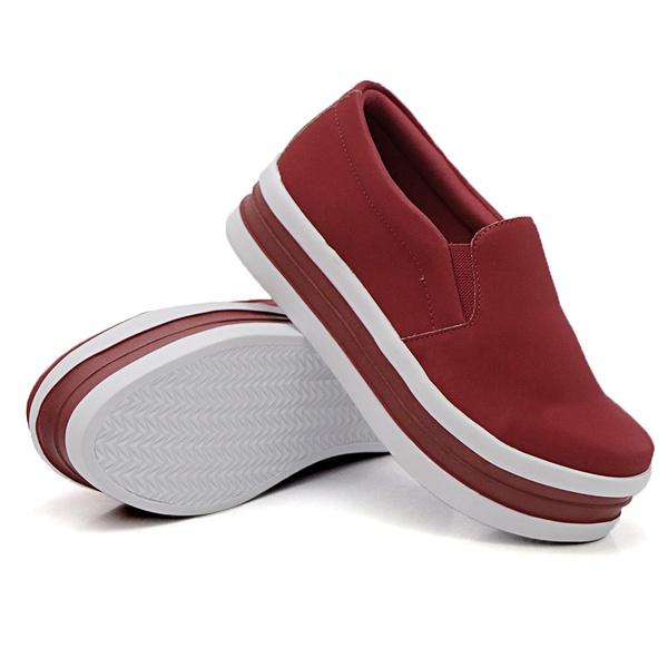 Slip On Liso Sola Alta Vermelho DKShoes