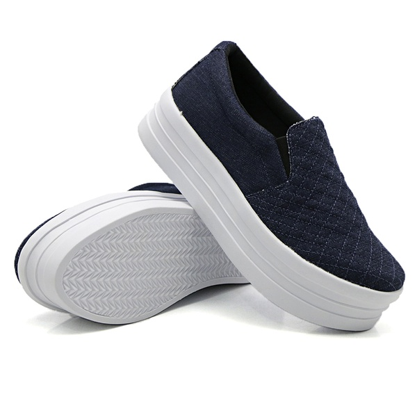 Slip On Matelassê Sola Alta Jeans DKShoes