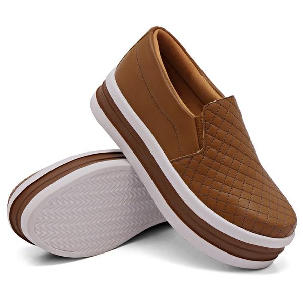 Slip On Matelassê Sola Alta Caramelo DKShoes