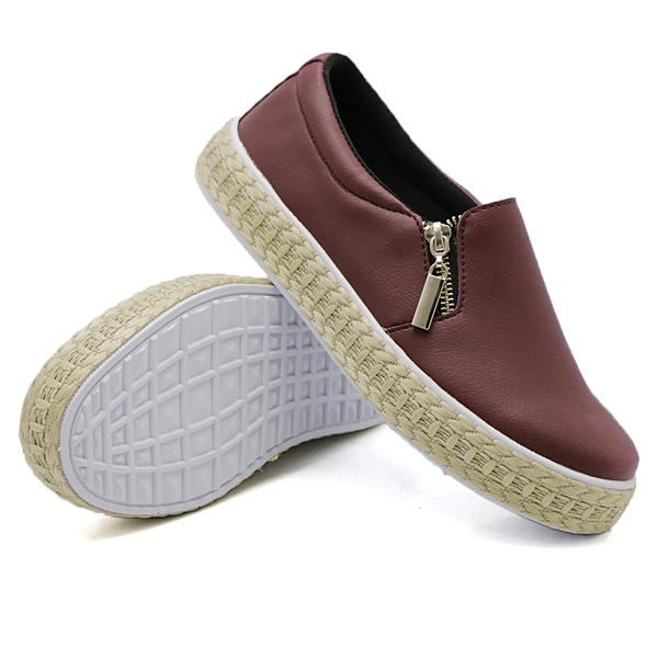 Slip On Calce Fácil Corda Zíper Marsala DKShoes