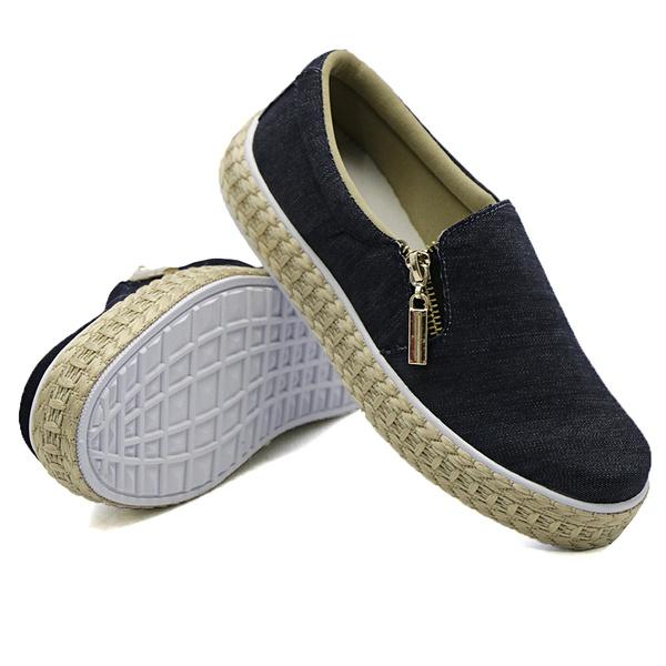 Slip On Calce Fácil Corda Zíper Jeans DKShoes