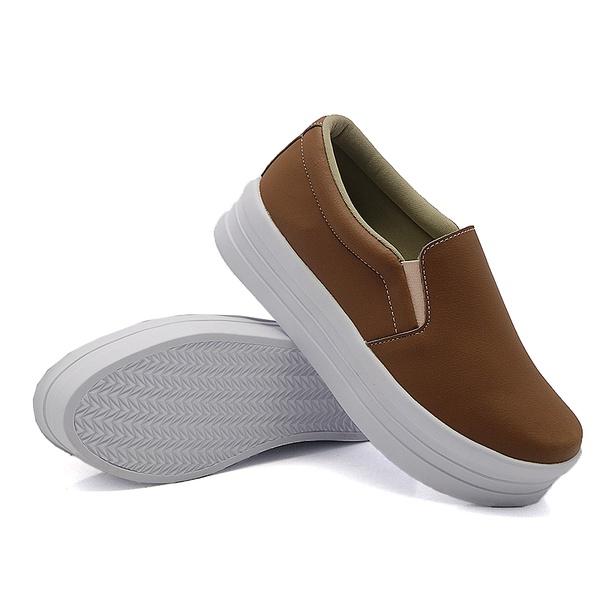Slip On Liso Sola Alta Caramelo DKShoes