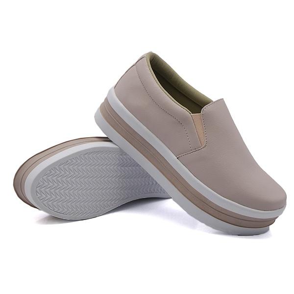 Slip On Liso Sola Alta Rosê DKShoes