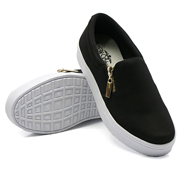 Slip On Calce Fácil Zíper Preto DKShoes
