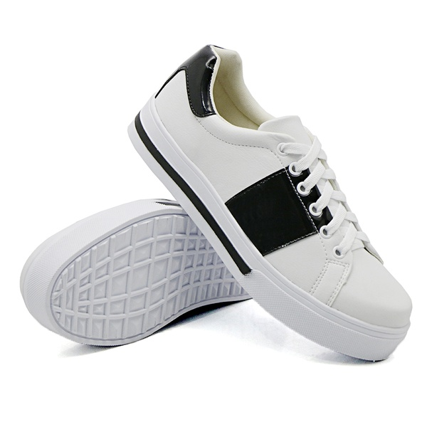 Tênis Casual Pietra Branco Verniz Preto DKShoes