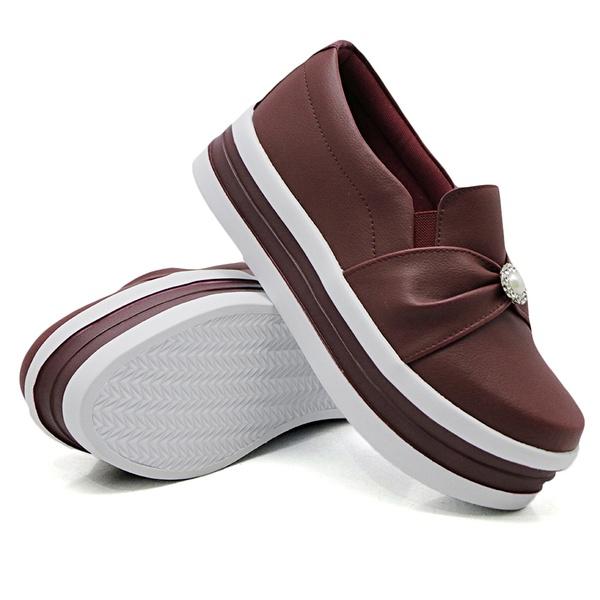 Slip On Pérola Sola Alta Marsala DKShoes