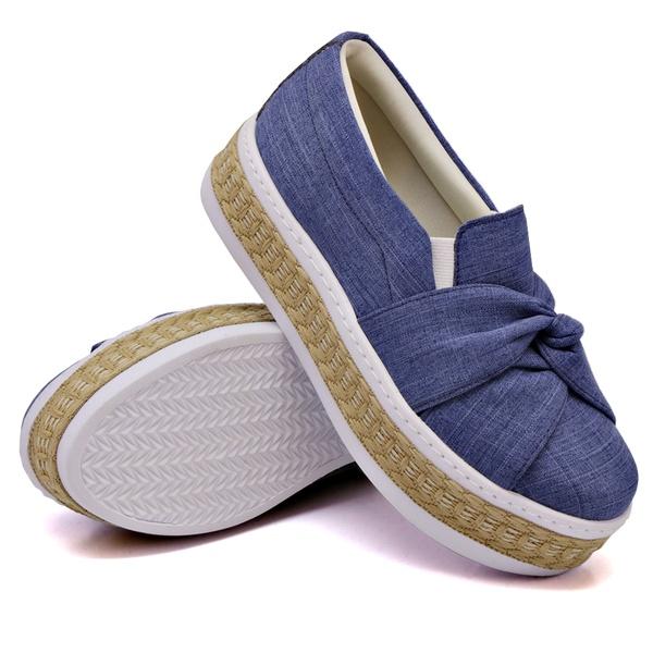 Slip On Nó Sola Alta Jeans Claro Corda DKShoes