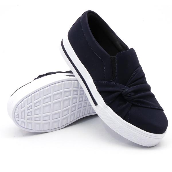Slip On Nó Lateral Listra Azul Marinho DKShoes