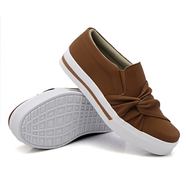 Slip On Nó Lateral Listra Caramelo DKShoes