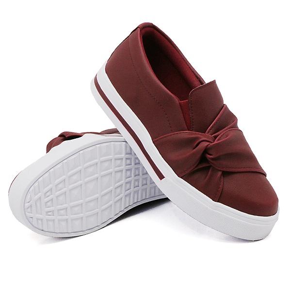 Slip On Nó Lateral Listra Marsala DKShoes