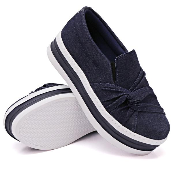 Slip On Nó Lateral Sola Alta Jeans DKShoes