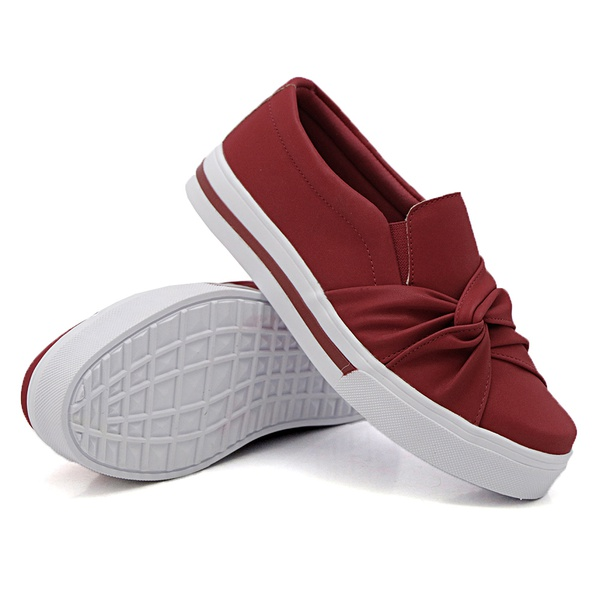 Slip On Nó Lateral Listra Vermelho DKShoes