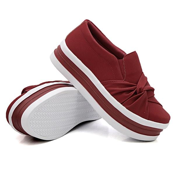 Slip On Nó Lateral Sola Alta Vermelho DKShoes