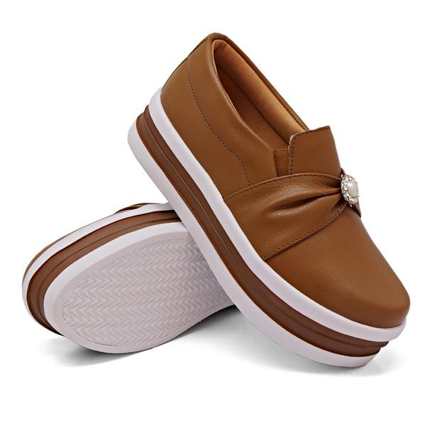 Slip On Pérola Sola Alta Caramelo DKShoes