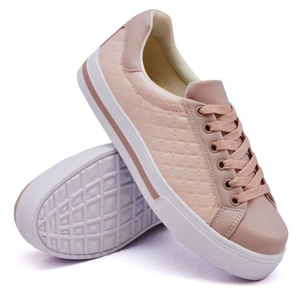 Tênis Casual Pietra Matelassê Rosê DKShoes