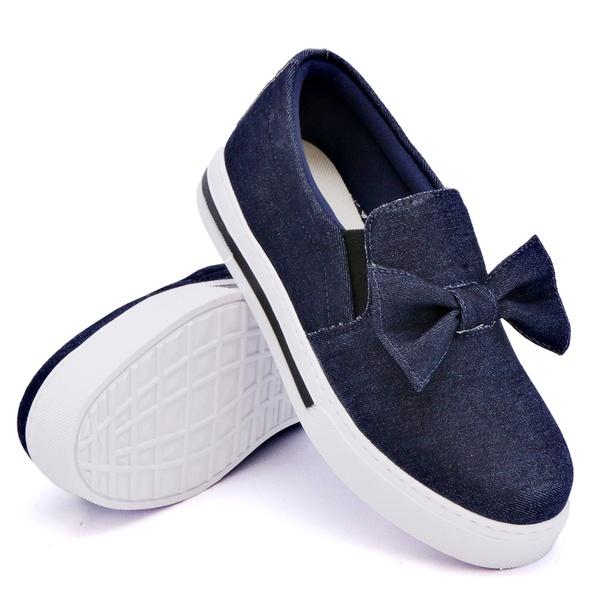 Slip On Siena Laço Deitado Jeans DKShoes