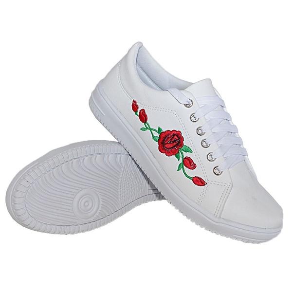 Tênis Casual Branco Flor DKShoes