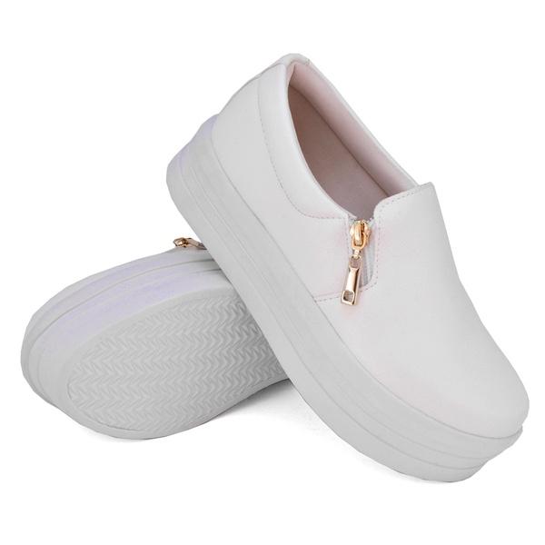 Slip On Zíper Sola Alta Branco DKShoes