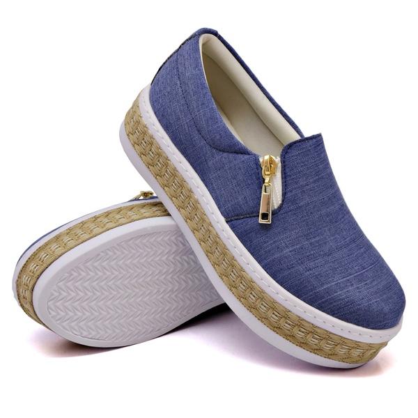 Slip On Zíper Corda Sola Alta Jeans Claro DKShoes