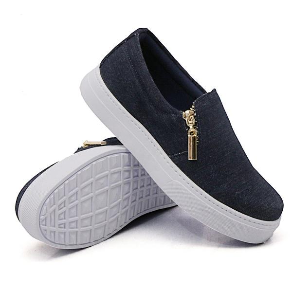 Slip On Calce Fácil Zíper Jeans DKShoes
