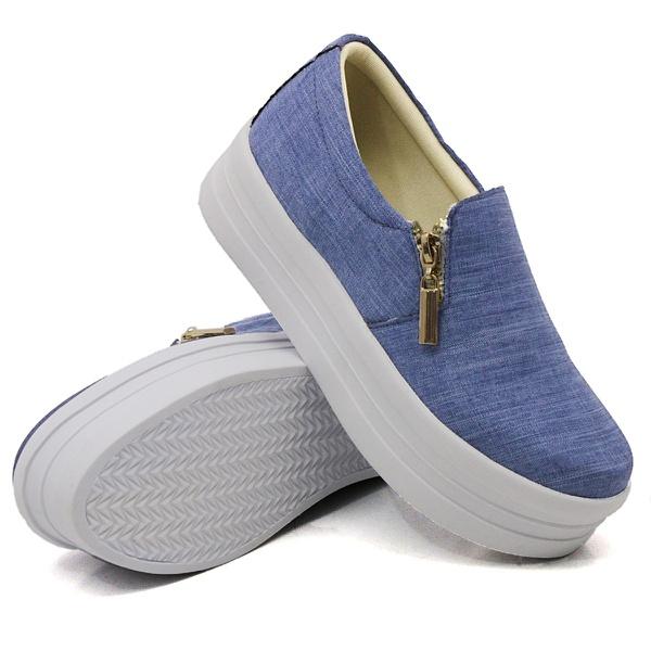 Slip On Zíper Sola Alta Jeans Claro DKShoes