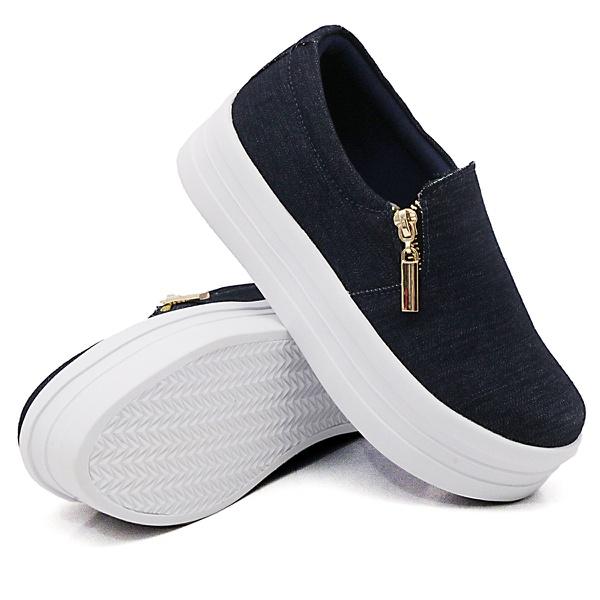Slip On Zíper Sola Alta Jeans DKShoes