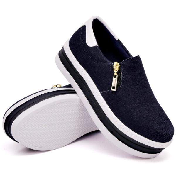 Slip On Zíper Sola Alta Jeans Verniz Branco DKShoes