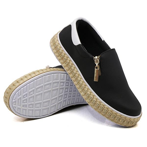 Slip On Zíper Preto Verniz Branco Corda DKShoes