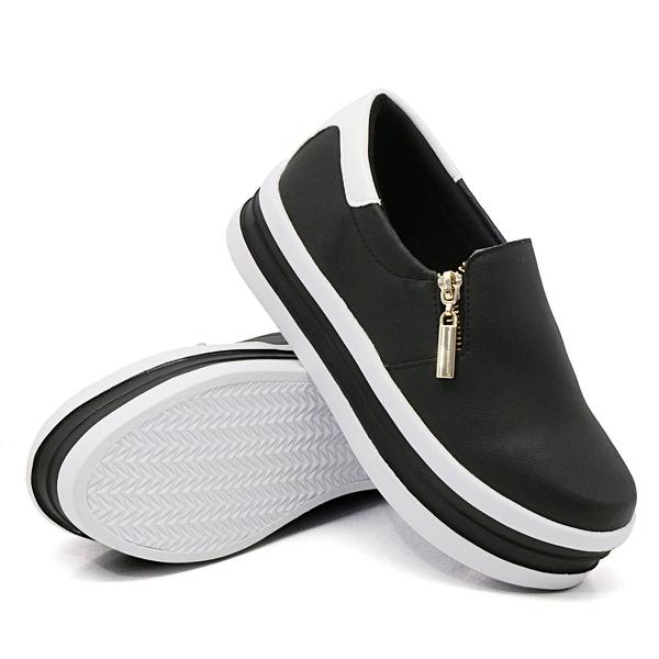 Slip On Zíper Sola Alta Preto Verniz Branco DKShoes