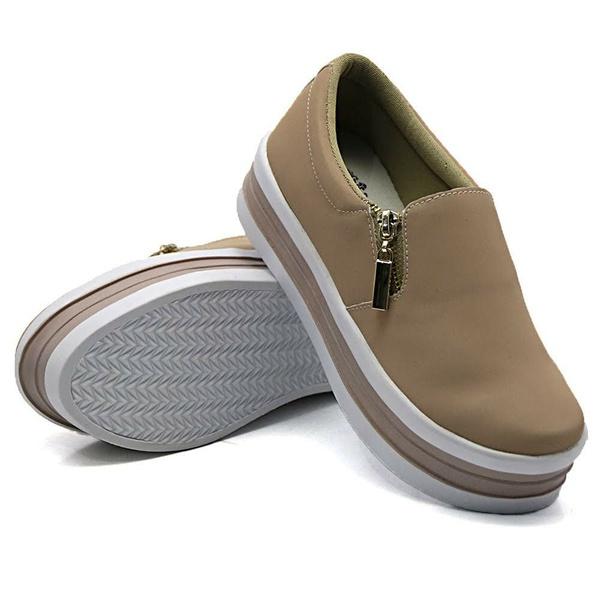 Slip On Zíper Sola Alta Rosê DKShoes